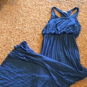 Lush Blue Razorback Maxi Dress, Size Medium